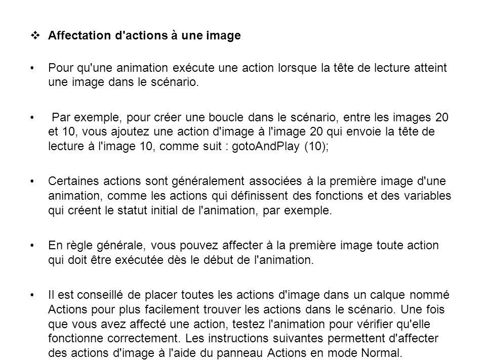Affectation d actions à une image