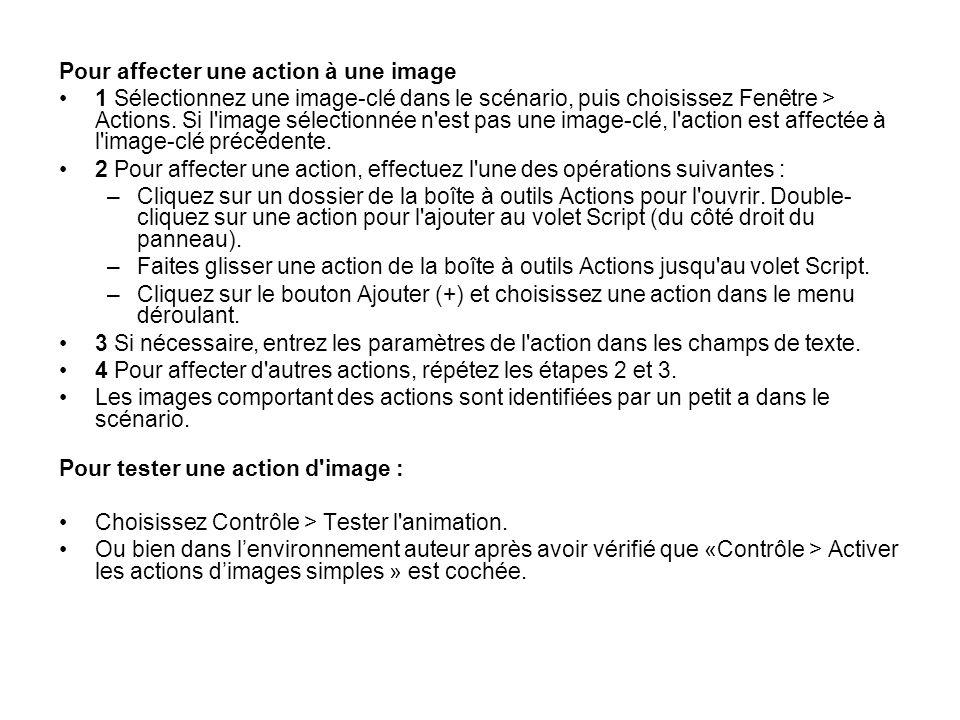Pour affecter une action à une image