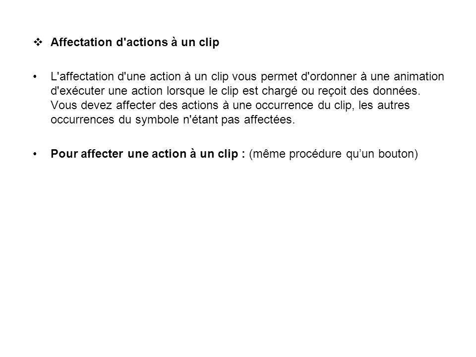 Affectation d actions à un clip