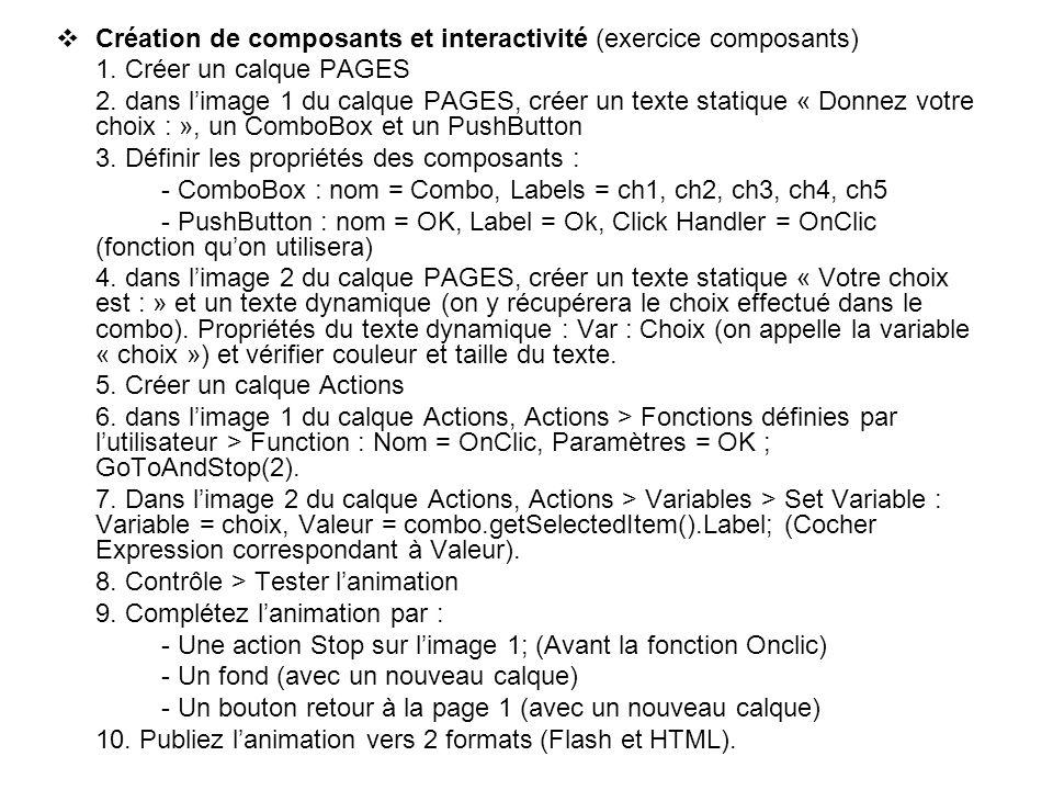 Création de composants et interactivité (exercice composants)