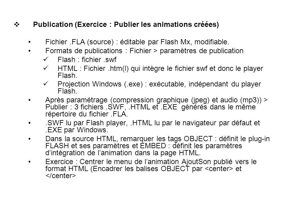 Publication (Exercice : Publier les animations créées)