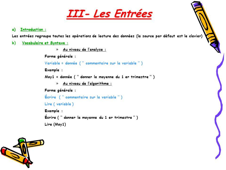 III- Les Entrées Introduction :