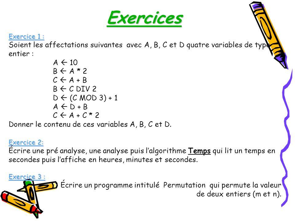 Exercices Exercice 1 : Soient les affectations suivantes avec A, B, C et D quatre variables de type entier :
