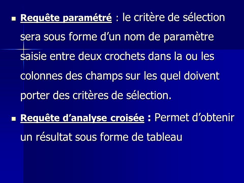 Requête paramétré : le critère de sélection sera sous forme d'un nom de paramètre saisie entre deux crochets dans la ou les colonnes des champs sur les quel doivent porter des critères de sélection.