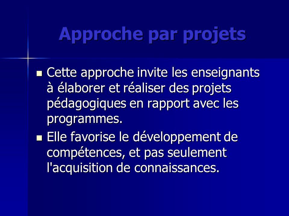 Approche par projetsCette approche invite les enseignants à élaborer et réaliser des projets pédagogiques en rapport avec les programmes.