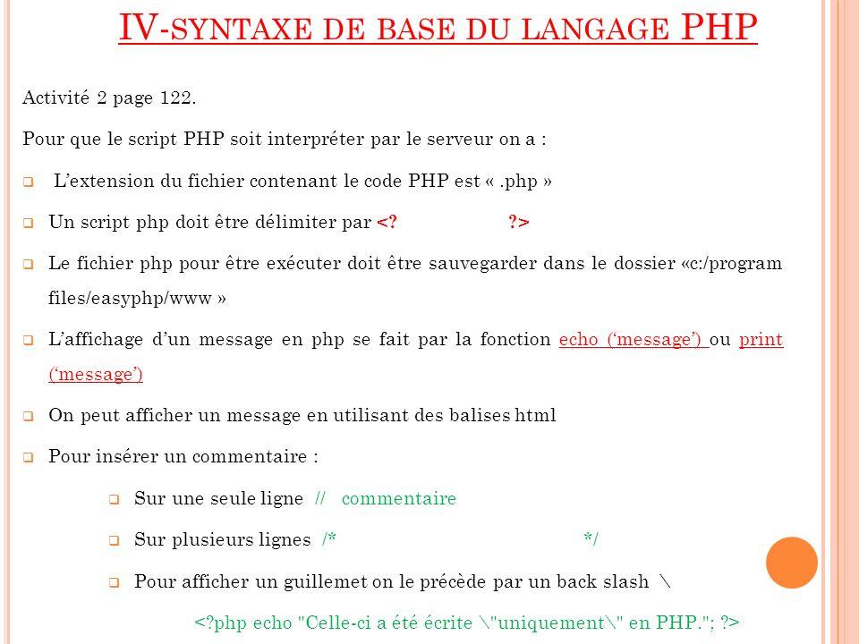 IV-syntaxe de base du langage PHP