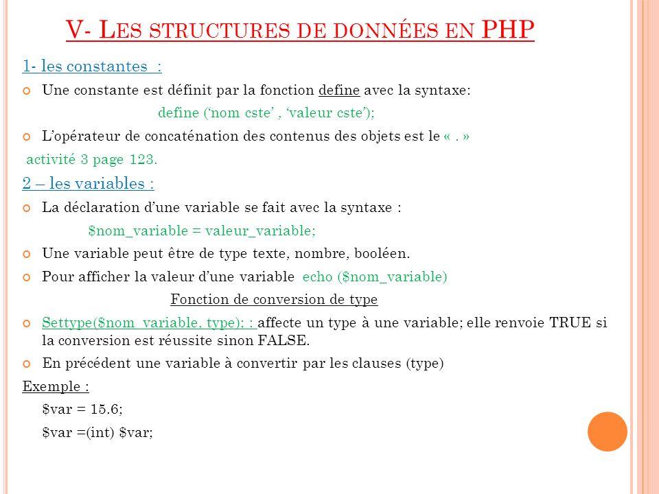 V- Les structures de données en PHP