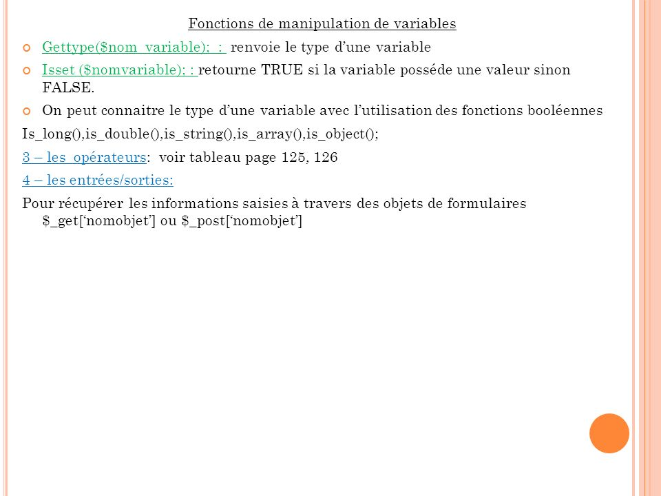Fonctions de manipulation de variables