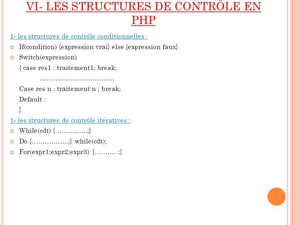 VI- LES STRUCTURES DE CONTRÔLE EN PHP