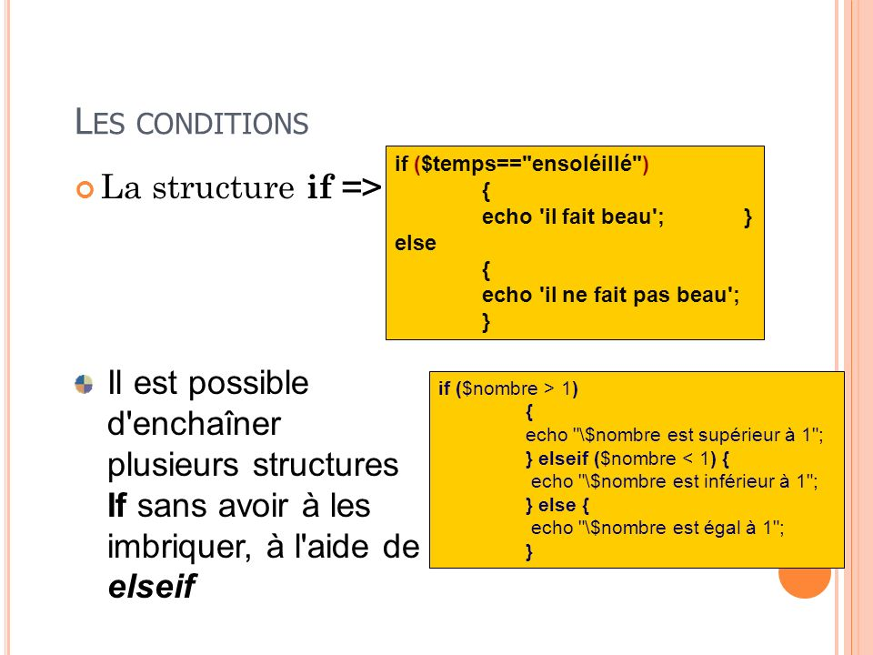 Les conditions La structure if =>