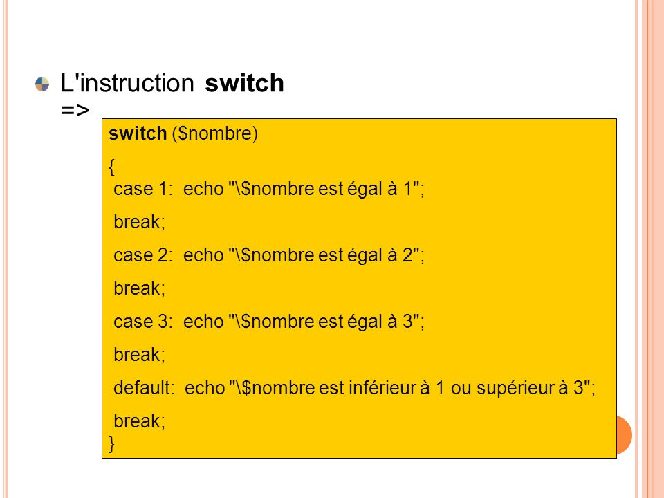L instruction switch =>