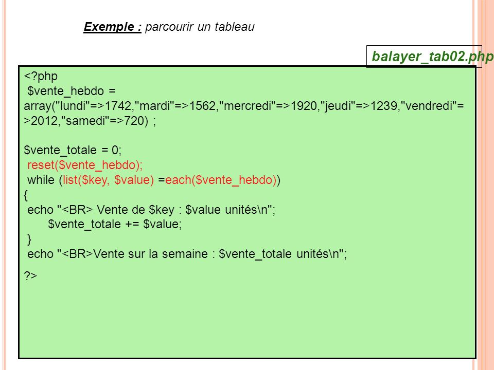 balayer_tab02.php Exemple : parcourir un tableau
