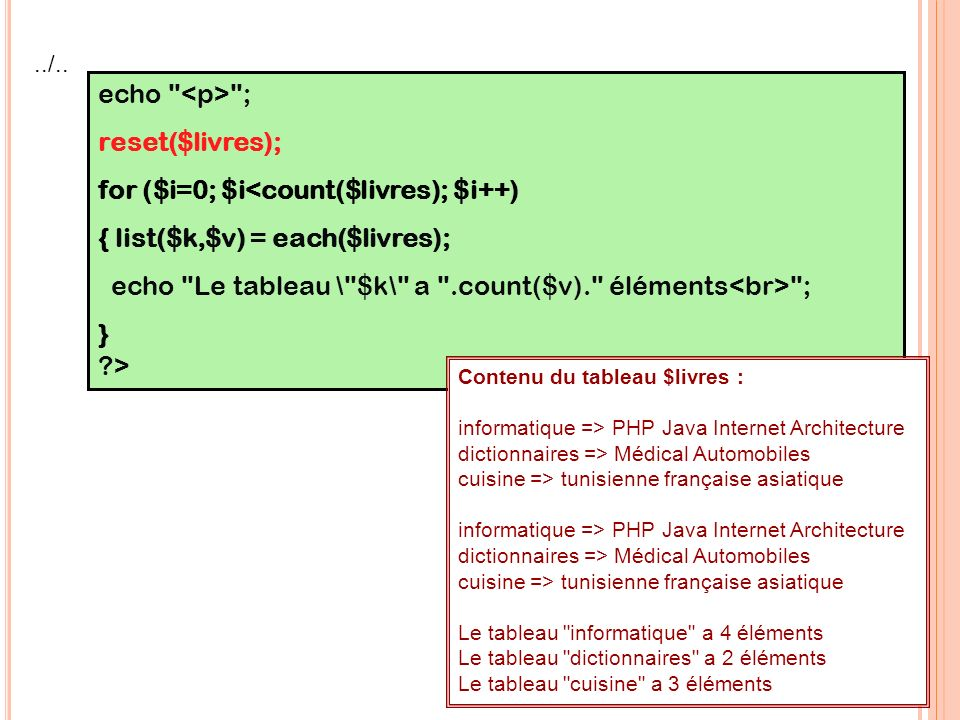 for ($i=0; $i<count($livres); $i++) { list($k,$v) = each($livres);