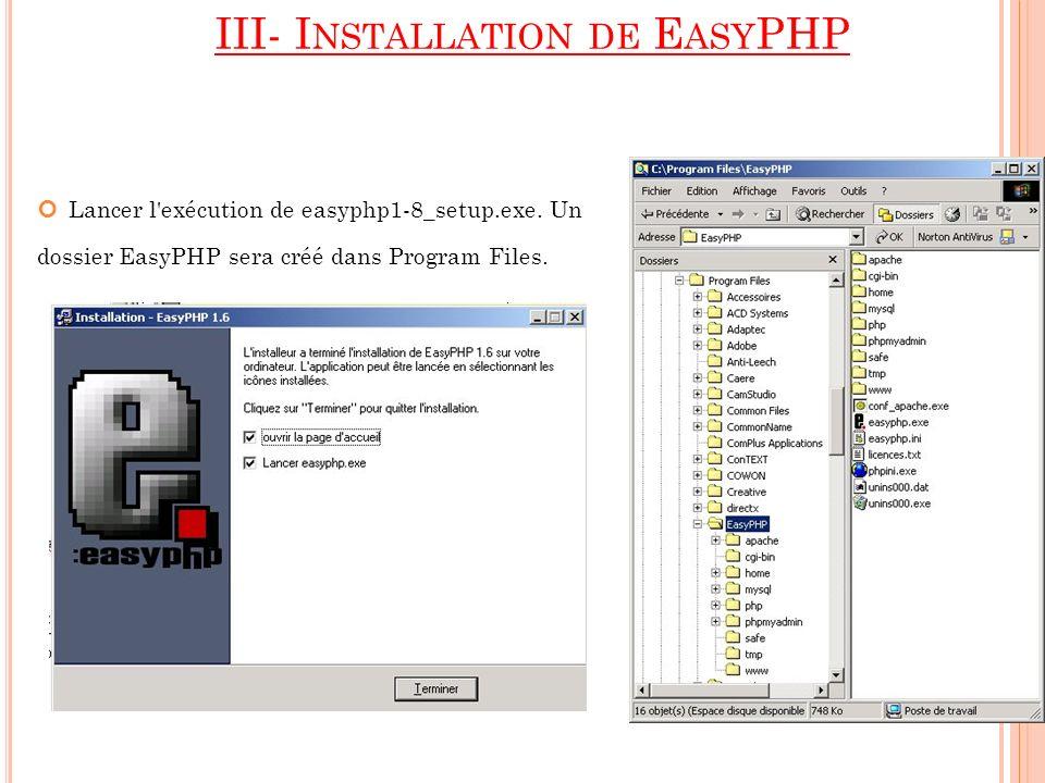 III- Installation de EasyPHP