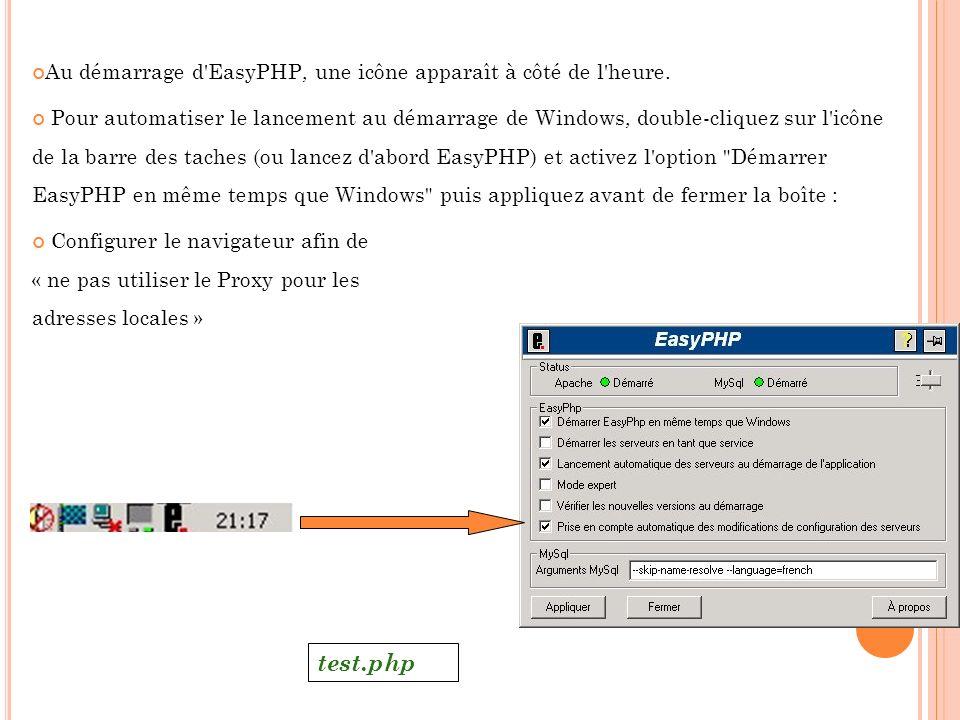 test.php Au démarrage d EasyPHP, une icône apparaît à côté de l heure.