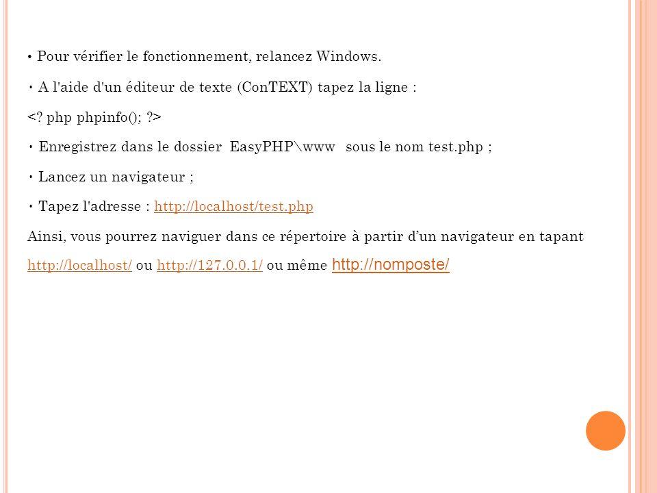 Pour vérifier le fonctionnement, relancez Windows.