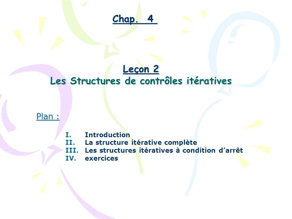 Les Structures de contrôles itératives