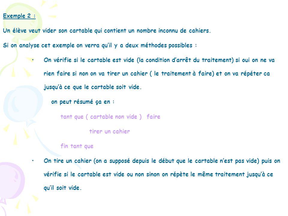 Exemple 2 : Un élève veut vider son cartable qui contient un nombre inconnu de cahiers.