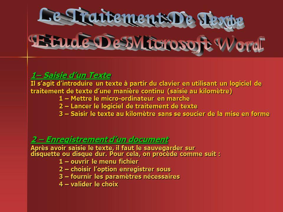 Etude de Microsoft Word Etude De Microsoft Word