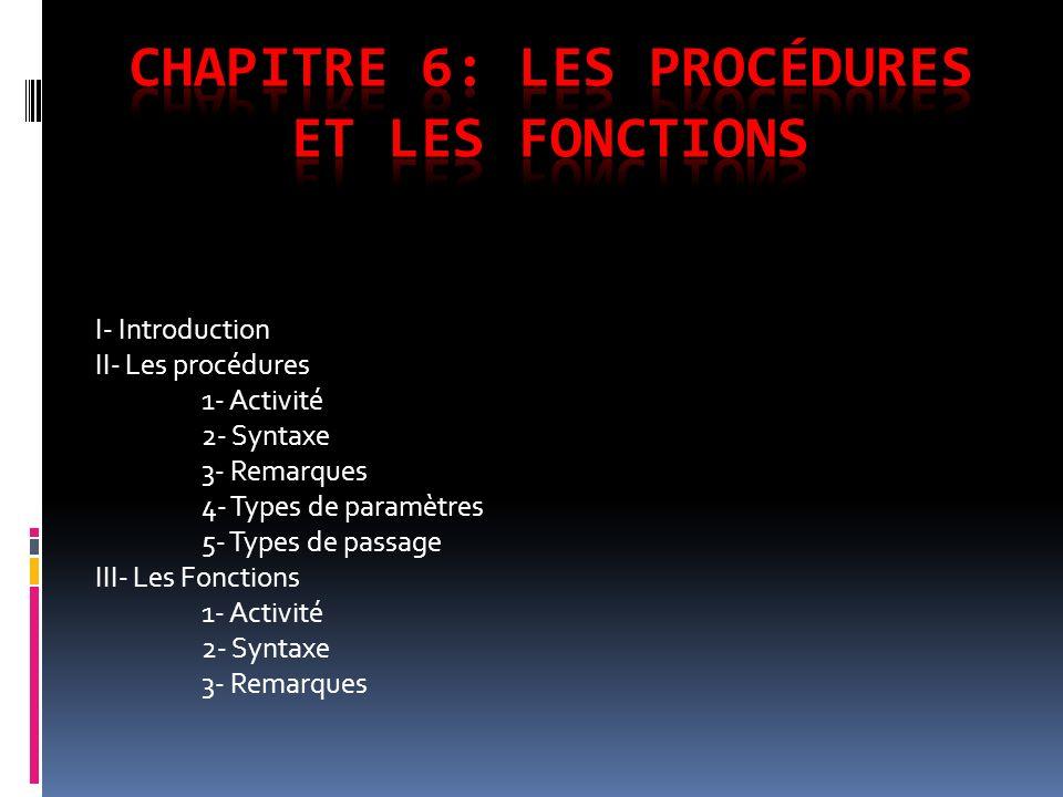Chapitre 6: Les procédures et les fonctions