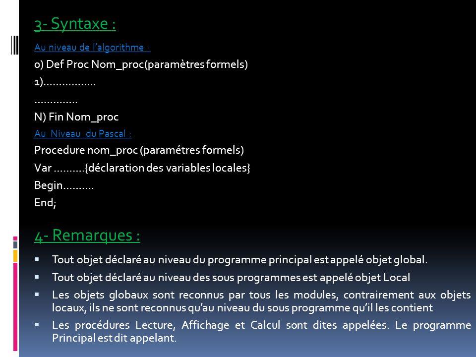 3- Syntaxe : 4- Remarques : 0) Def Proc Nom_proc(paramètres formels)