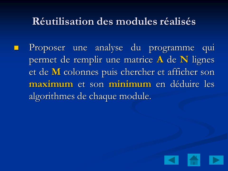 Réutilisation des modules réalisés