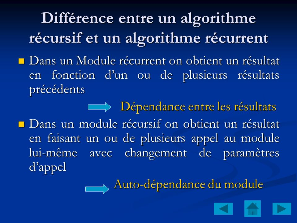 Différence entre un algorithme récursif et un algorithme récurrent
