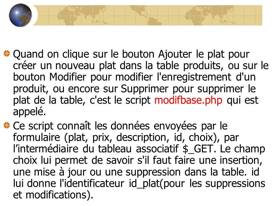 Quand on clique sur le bouton Ajouter le plat pour créer un nouveau plat dans la table produits, ou sur le bouton Modifier pour modifier l enregistrement d un produit, ou encore sur Supprimer pour supprimer le plat de la table, c est le script modifbase.php qui est appelé.