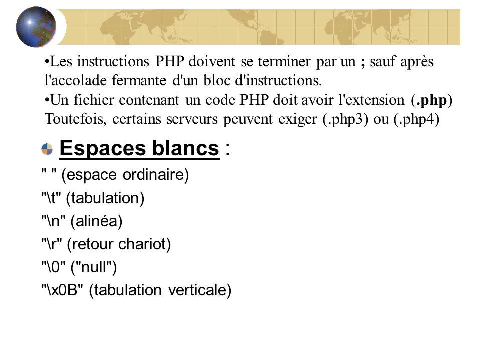 Les instructions PHP doivent se terminer par un ; sauf après l accolade fermante d un bloc d instructions.