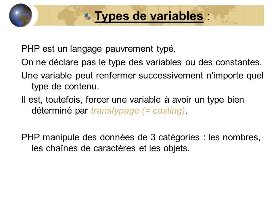Types de variables : PHP est un langage pauvrement typé.