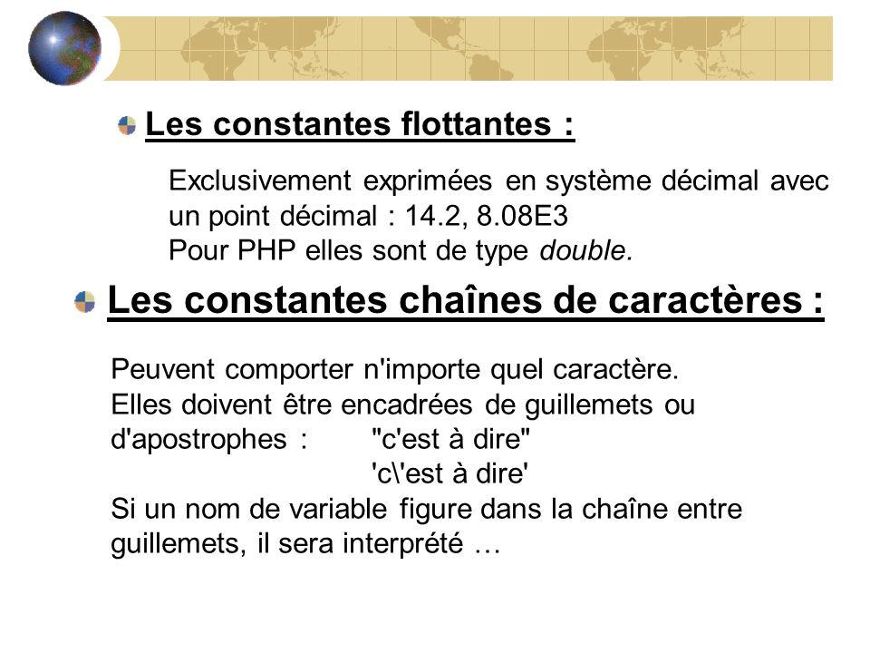 Les constantes chaînes de caractères :