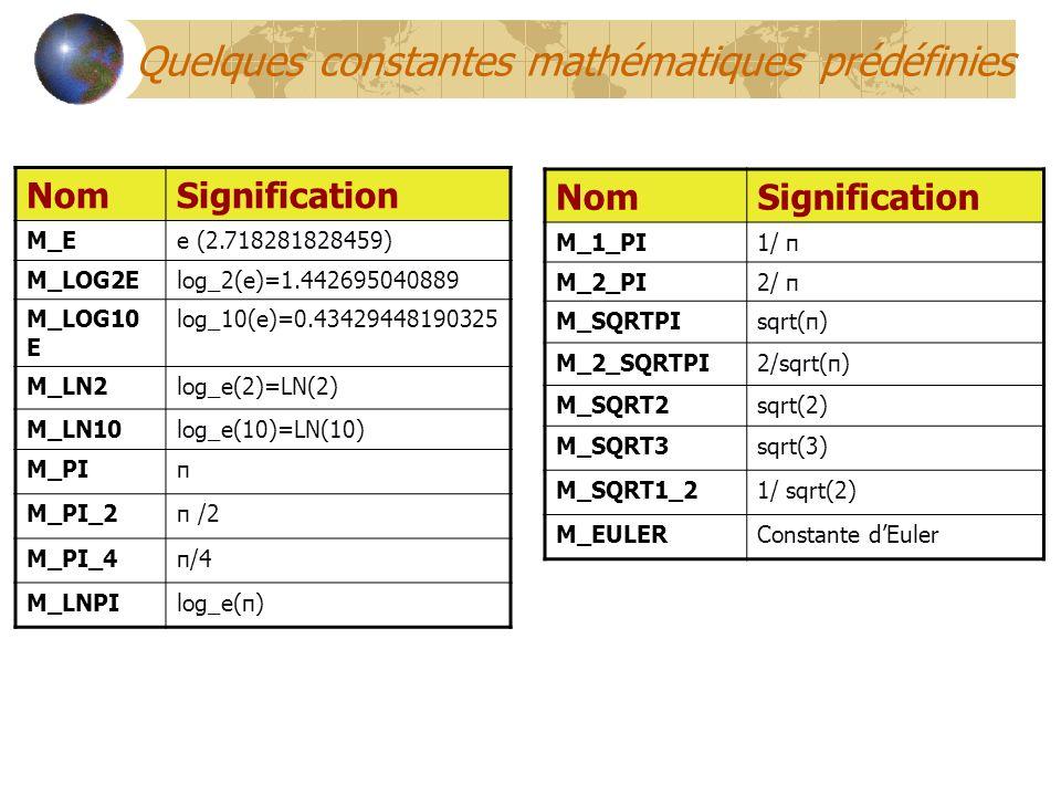 Quelques constantes mathématiques prédéfinies