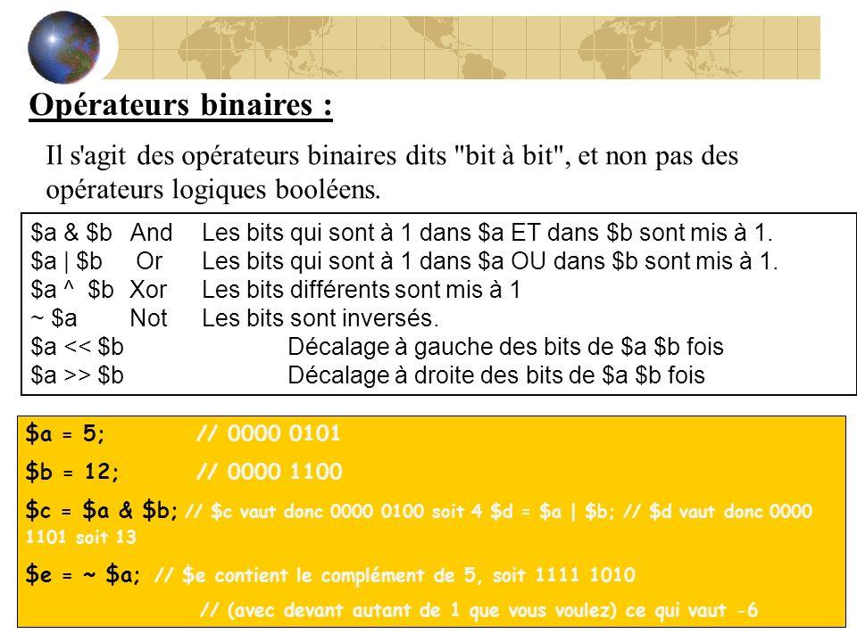 Opérateurs binaires : Il s agit des opérateurs binaires dits bit à bit , et non pas des opérateurs logiques booléens.