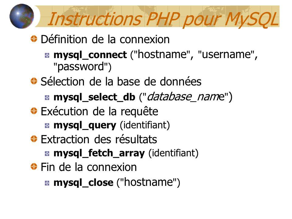 Instructions PHP pour MySQL