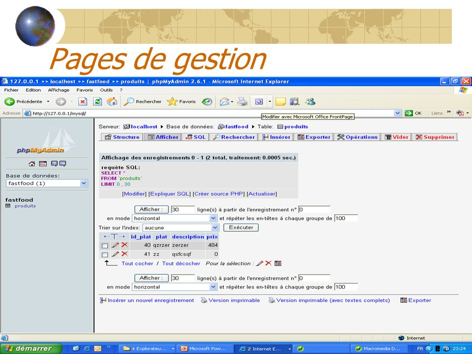 Pages de gestion