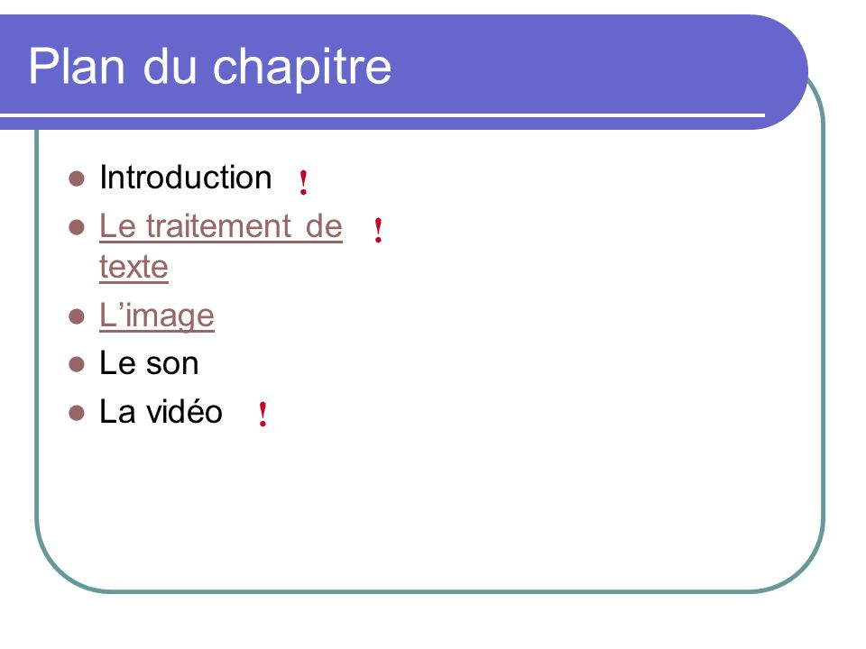 Plan du chapitre Introduction Le traitement de texte L'image Le son