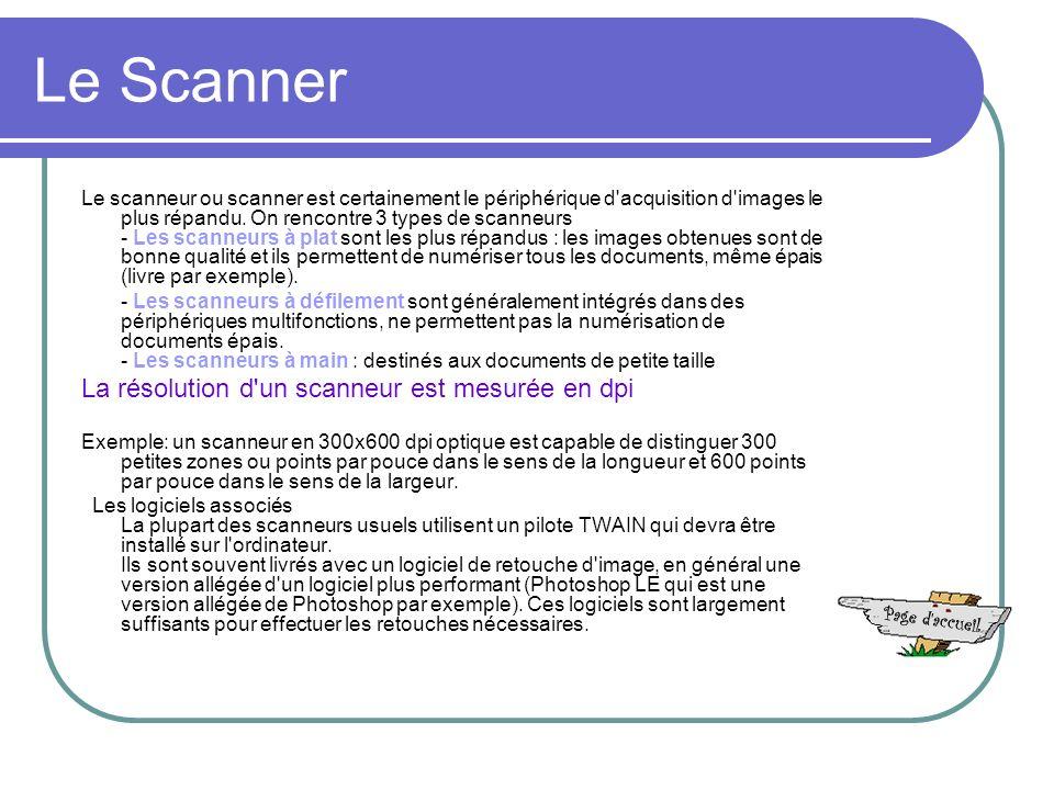 Le Scanner La résolution d un scanneur est mesurée en dpi