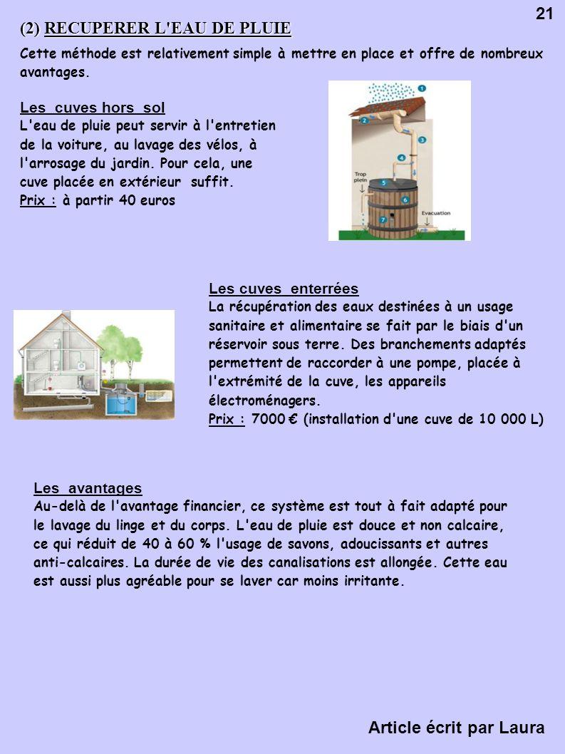 (2) RECUPERER L EAU DE PLUIE