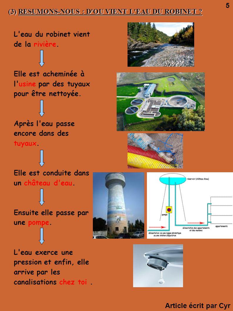 5 (3) RESUMONS-NOUS : D OU VIENT L EAU DU ROBINET L eau du robinet vient de la rivière.