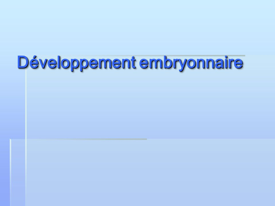Développement embryonnaire