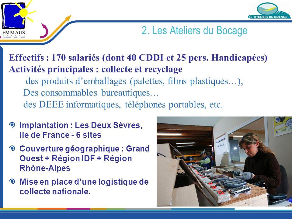 2. Les Ateliers du Bocage Effectifs : 170 salariés (dont 40 CDDI et 25 pers. Handicapées) Activités principales : collecte et recyclage.