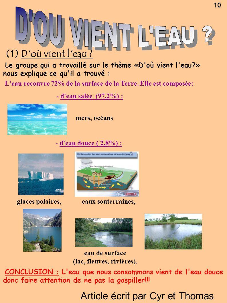 (lac, fleuves, rivières).