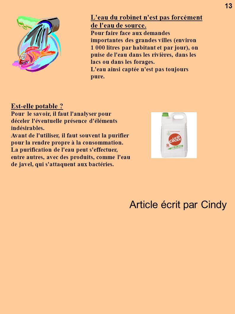 Article écrit par Cindy