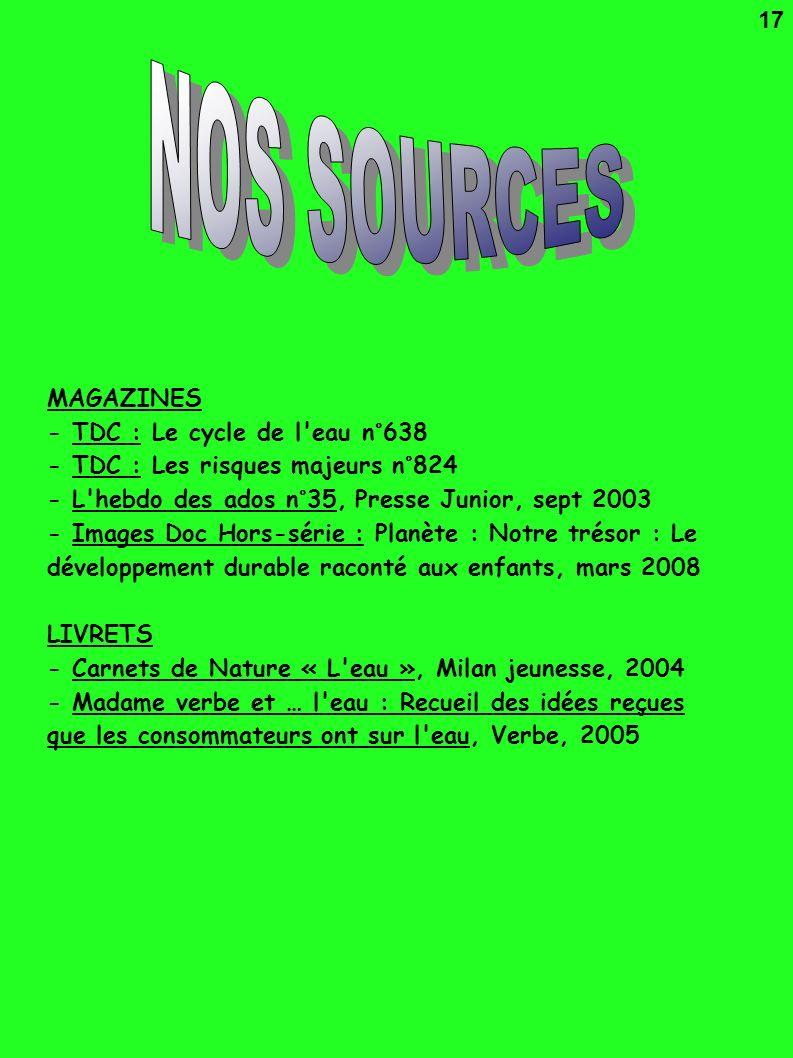 NOS SOURCES 17 MAGAZINES - TDC : Le cycle de l eau n°638