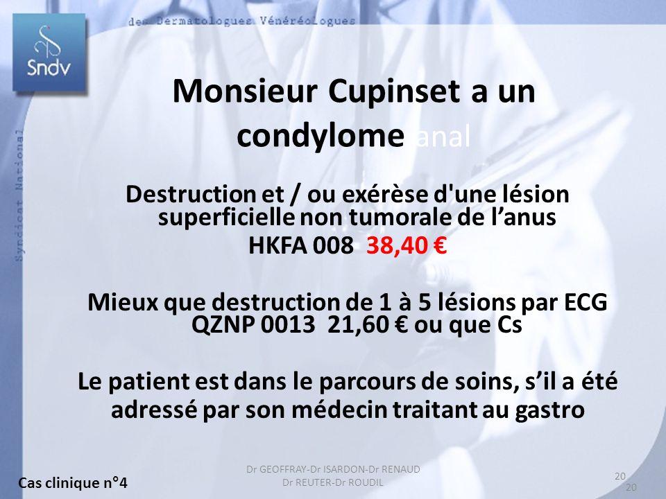 Monsieur Cupinset a un condylome anal