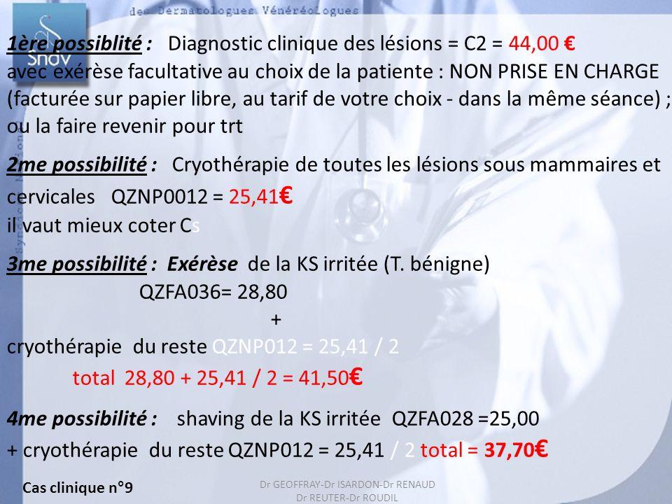 1ère possiblité : Diagnostic clinique des lésions = C2 = 44,00 €