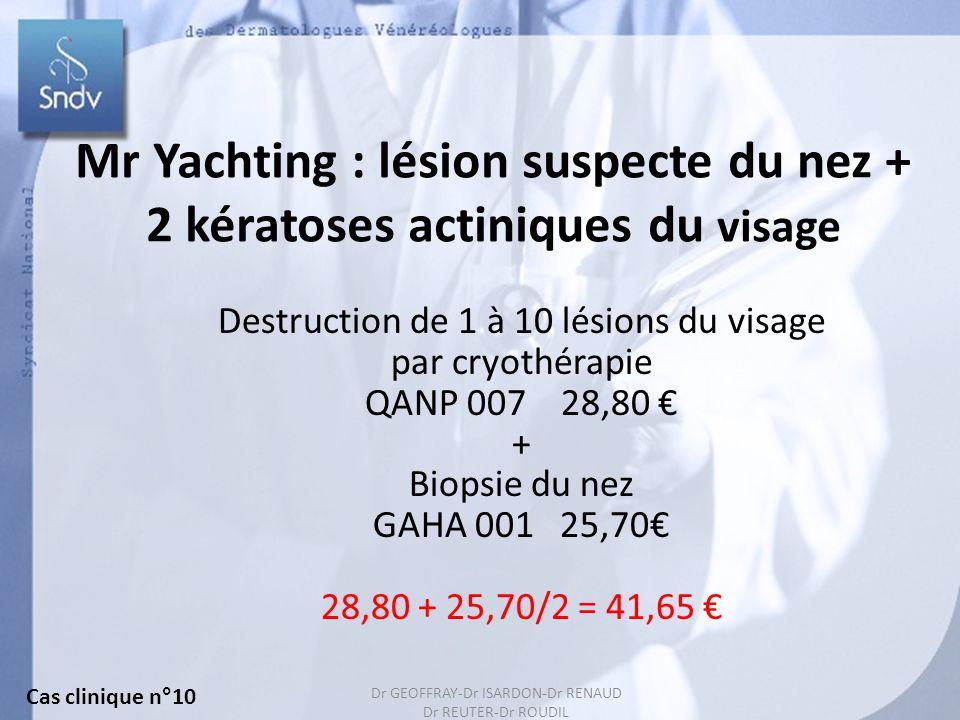 Mr Yachting : lésion suspecte du nez + 2 kératoses actiniques du visage
