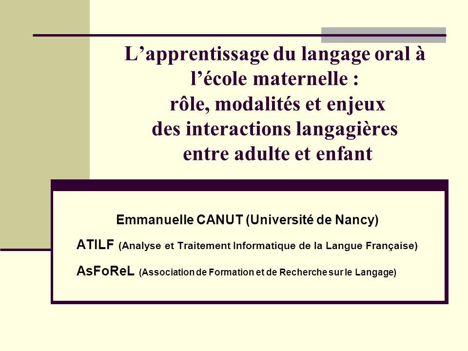 L'apprentissage du langage oral à l'école maternelle : rôle, modalités et enjeux des interactions langagières entre adulte et enfant