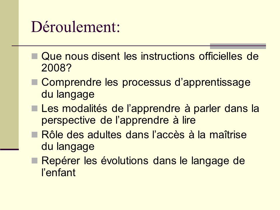 Déroulement: Que nous disent les instructions officielles de 2008