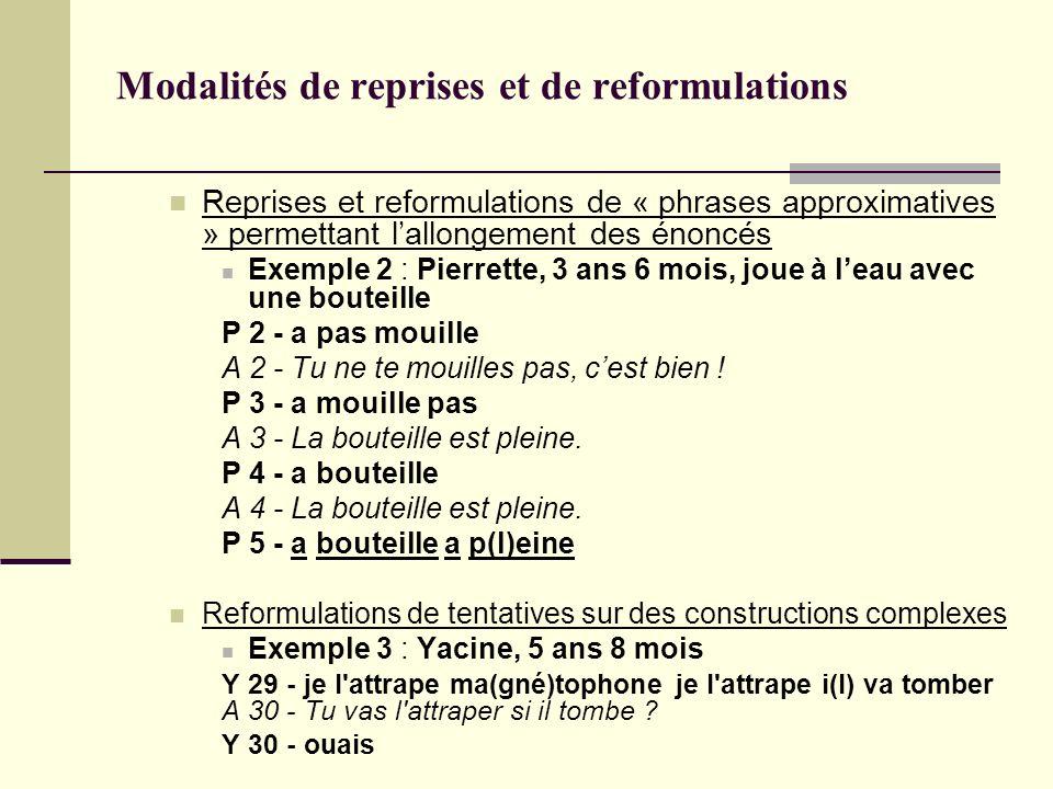 Modalités de reprises et de reformulations